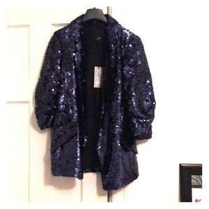 River island navy sequin blazer